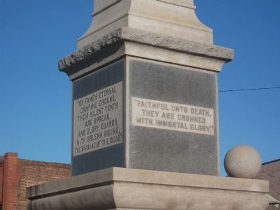 Our Confederate Soldiers: Detail of Back and Side of Marker Photo, Click for full size
