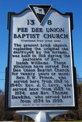 Pee Dee Union Baptist Church Marker image. Click for full size.