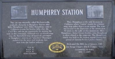 Humphrey Station Marker Photo, Click for full size