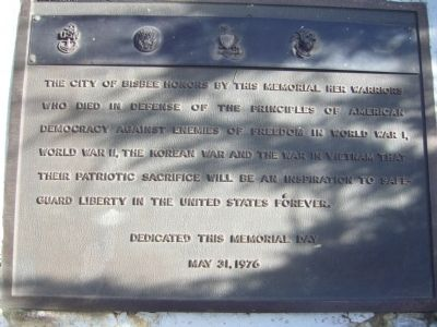 City of Bisbee Warrior Memorial Marker image. Click for full size.