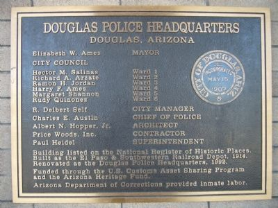 Douglas Police Headquarters Marker image. Click for full size.