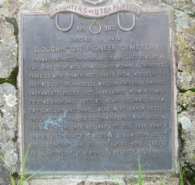 Sloughhouse Pioneer Cemetery Marker image. Click for full size.