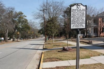 Church of the Good Shepard Marker, looking east along Blanding Street image. Click for full size.