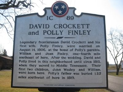 David Crockett and Polly Finley Marker image. Click for full size.