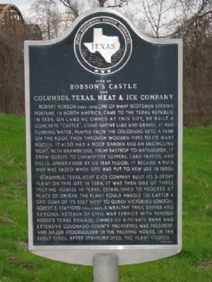 Robson's Castle and Columbus, Texas, Meat and Ice Company Marker image. Click for full size.