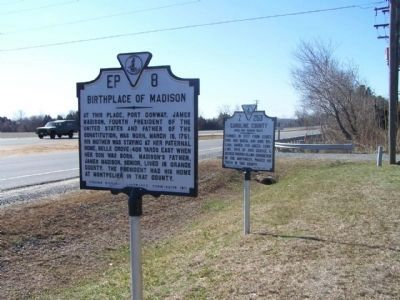 King George County / Caroline County Marker shares location with Birthplace of Madison Marker image. Click for full size.