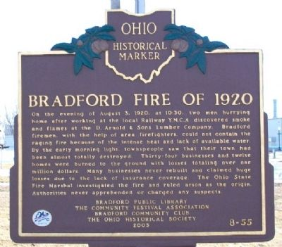 Bradford Fire of 1920 Marker image. Click for full size.