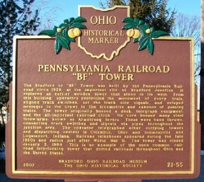 "Pennsylvania Railroad ""BF"" Tower Marker image. Click for full size."