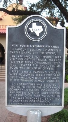 Fort Worth Livestock Exchange Marker image. Click for full size.