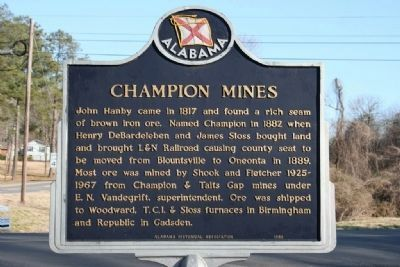 Champion Mines Marker image. Click for full size.