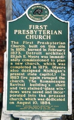First Presbyterian Church Marker (Reverse) image. Click for full size.