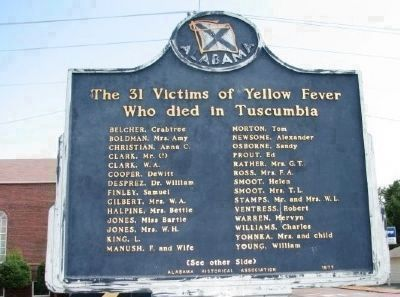 The 31 Victims of Yellow Fever Who died in Tuscumbia - Side B image. Click for full size.