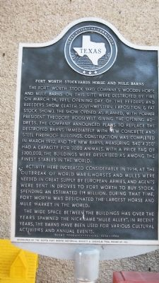 Fort Worth Stockyards Horse and Mule Barns Marker image. Click for full size.