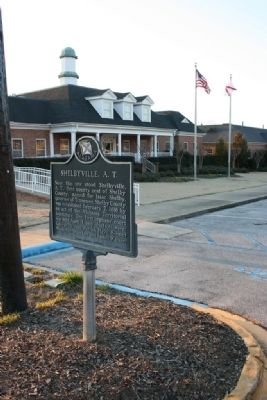 Shelbyville, A. T. Marker next to the Pelham City Hall. image. Click for full size.