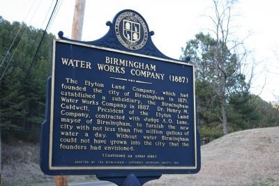 Birmingham Water Works Company (1887)Marker - Side A image. Click for full size.