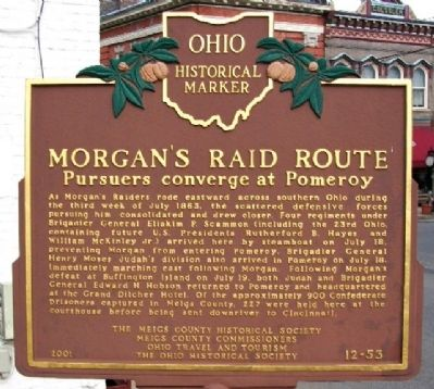 Morgan's Raid Route Marker (Side A) Photo, Click for full size