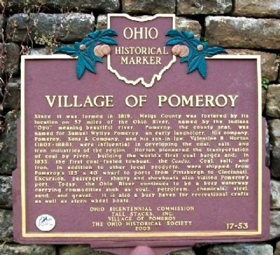 Village of Pomeroy Marker image. Click for full size.
