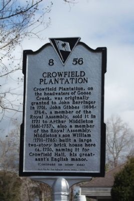 Crowfield Plantation Marker image. Click for full size.