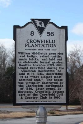 Crowfield Plantation Marker, reverse side image. Click for full size.