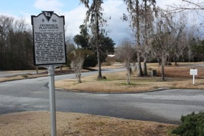 Crowfield Plantation Marker, at the entrance to the Crowfield Golf & Country Club image. Click for full size.