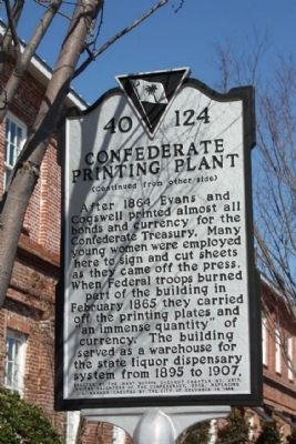 Confederate Printing Plant Marker, reverse side image. Click for full size.