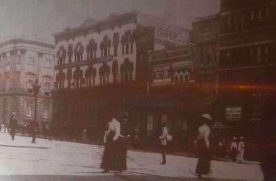 The Restoration of 800 F Street Marker photo, close up<br> - F Street circa 1900 image. Click for full size.