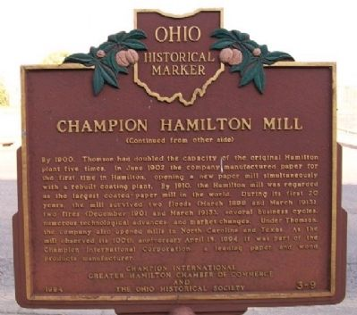 Champion Hamilton Mill Marker (Side B) image. Click for full size.