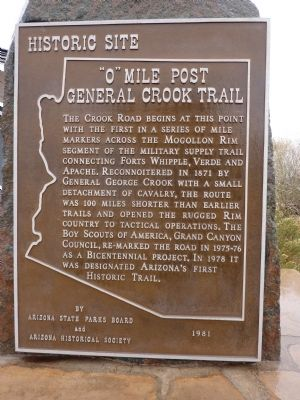 """0"" Mile Post General Crook Trail Marker image. Click for full size."