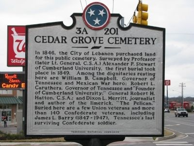 Cedar Grove Cemetery Marker image. Click for full size.