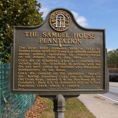 The Samuel House Plantation Marker image. Click for full size.
