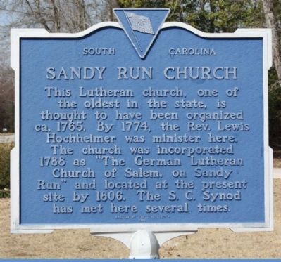 Sandy Run Church Marker image. Click for full size.