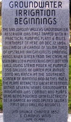 Groundwater Irrigation Beginnings Marker image. Click for full size.