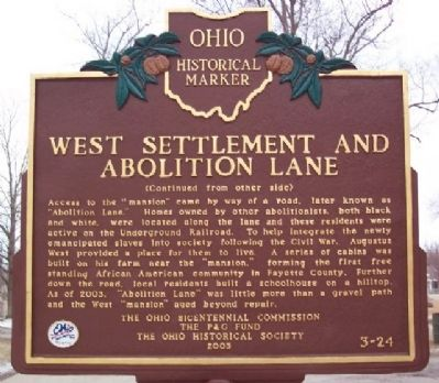 West Settlement and Abolition Lane Marker (Side B) image. Click for full size.