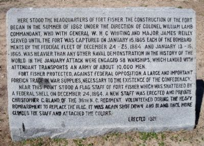 Headquarters of Fort Fisher Marker image. Click for full size.