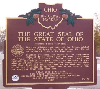 Great Seal of the State of Ohio Marker (Side B) image. Click for full size.