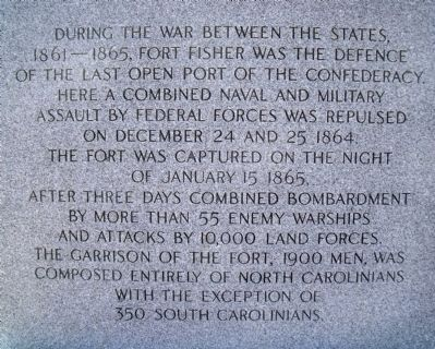 Fort Fisher UDC Monument (north face) image. Click for full size.