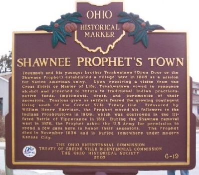 Shawnee Prophet's Town Marker (Side B) image. Click for full size.