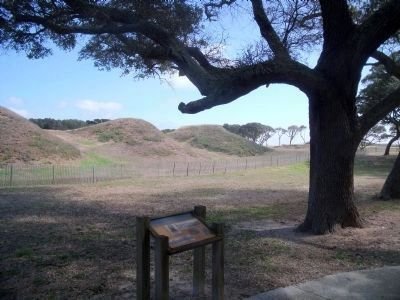Interior view of Fort Fisher's land face (facing northeast) image. Click for full size.