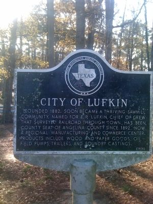 City of Lufkin Marker image. Click for full size.