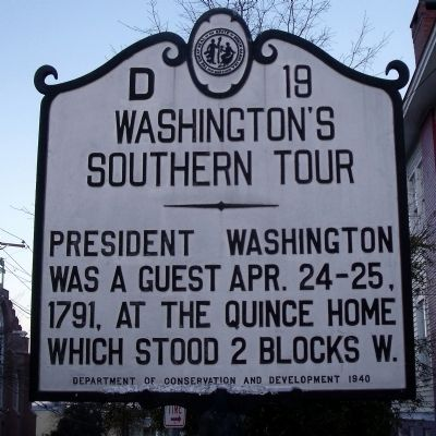 Washington's Southern Tour Marker image. Click for full size.