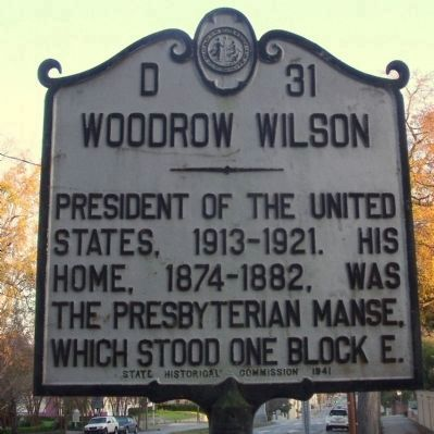 Woodrow Wilson Marker <i>(obverse)</i> image. Click for full size.