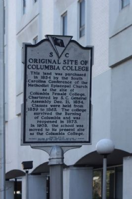 Original Site of Columbia College Marker Photo, Click for full size