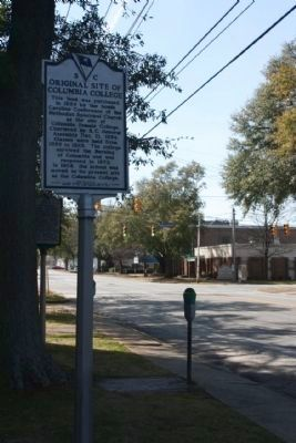Original Site of Columbia College Marker seen near Pickens Street Photo, Click for full size