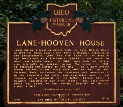 Lane-Hooven House Marker (Side A) image. Click for full size.
