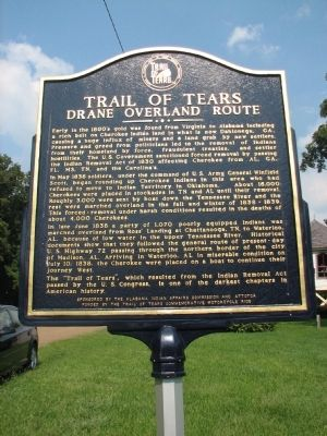 Trail of Tears Drane Overland Route Marker image. Click for full size.