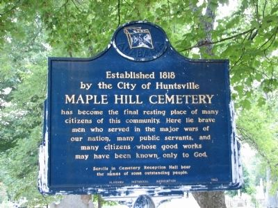 Maple Hill Cemetery Marker - Side 1 Photo, Click for full size