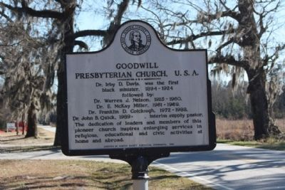 Goodwill Presbyterian Church, U.S.A. Marker, reverse side image. Click for full size.