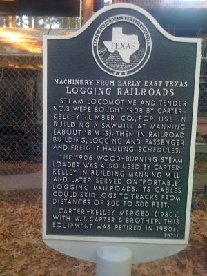 Machinery from early East Texas Logging Railroads Marker image. Click for full size.