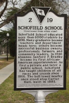 Schofield School Marker, reverse side image. Click for full size.