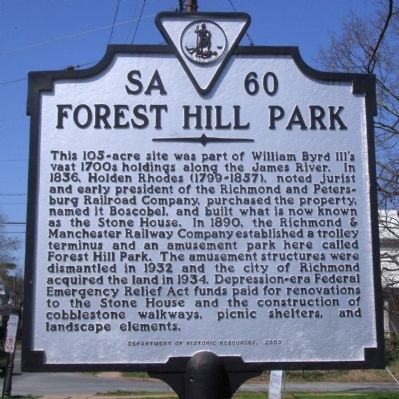 Forest Hill Park Marker image. Click for full size.